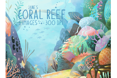 Watercolor Coral Reef Set
