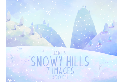 Watercolor Snowy Hills Clipart