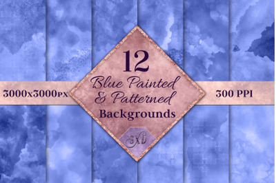 Blue Painted and Patterned Backgrounds - 12 Image Textures