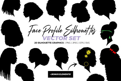 Face Profile Silhouettes, African American Kinky Curly Hair Silhouette