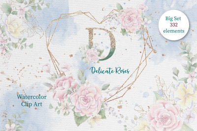 Watercolor flowers Roses clipart big set, elements for invitations