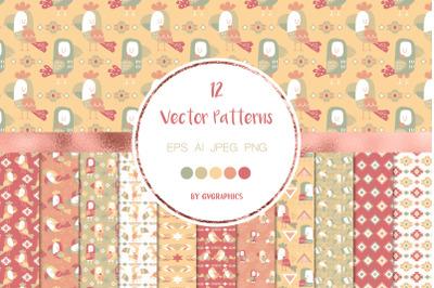 12 Folk Toco Toucan Birds Vector Patterns and Seamless Tiles