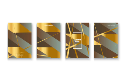 Luxurious and rich cover vector illustration set, golden foil and gold