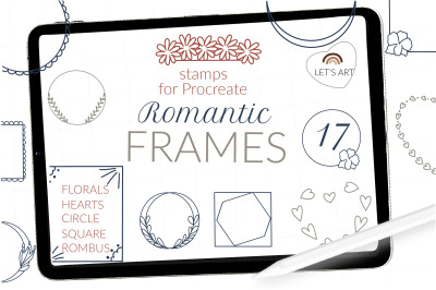 Procreate frame stamps, procreate wreathe brushes, romantic stamps, va