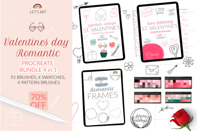 Procreate Love Bundle, Procreate Valetnines day stamps