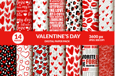 Valentines Day Digital Paper Pack. Lips Kisses, Hearts, Word Text