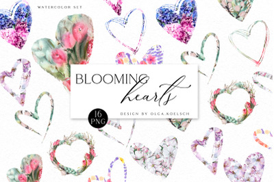 Watercolor floral Valentine heart clipart, flower valentine png