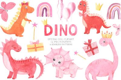 Watercolor Dinosaurs Girl clipart