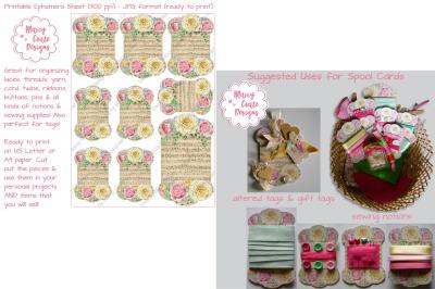 Spool Cards Printable Ephemera Sheet with Roses & Music