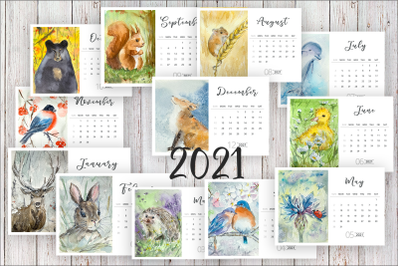 Watercolour Woodland Calendar 2021