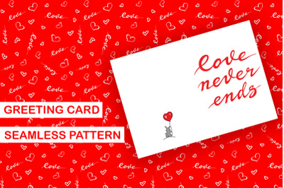 Love lettering pattern card template PDF