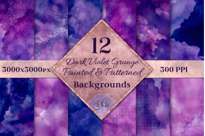 Dark Violet Grunge Painted and Patterned Backgrounds