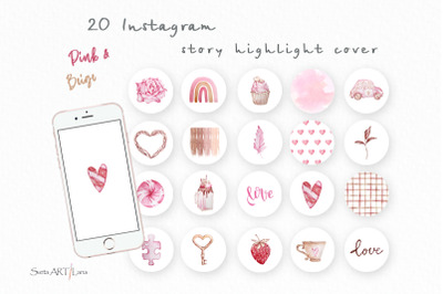 Instagram Story Highlight Icons, Pink and Beige