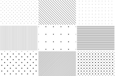 Dotted and striped seamless patterns