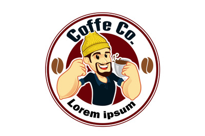 barista logo mascot cartoon