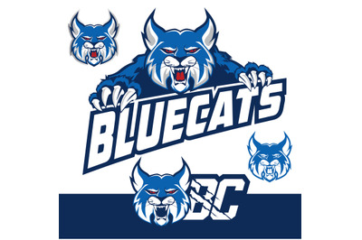 blue cat logo cartoon