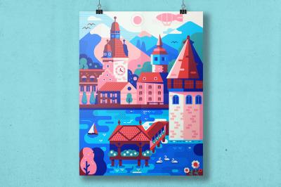 Lucerne Switzerland Travel Poster