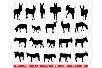 SVG Donkeys, Black Silhouettes, Digital clipart