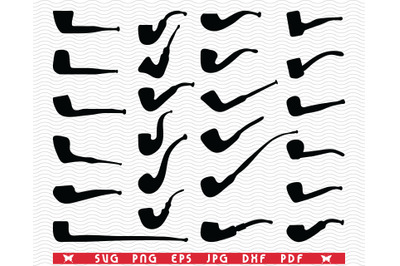 SVG Tobacco pipes, Black Silhouettes, Digital clipart