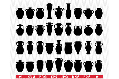 SVG Pottery, Black Silhouettes, Digital clipart