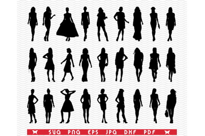 SVG Fashion Girls, Black Silhouette, Digital clipart