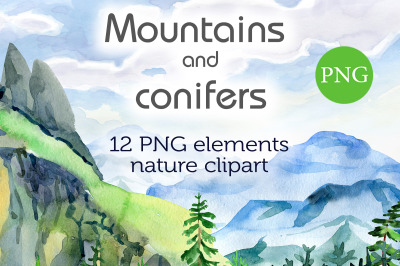 Watercolor Mountains and conifers
