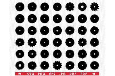 SVG Circular Saw Blades, Black Silhouette, Digital clipart