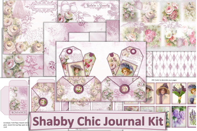 Printable Shabby Chic Valentines Romance Junk Journal Kit