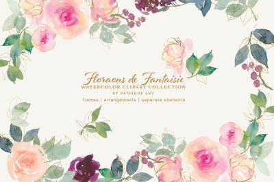 Blush Gold Watercolor Floral Clipart Set