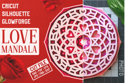 Layered 3D Love Mandala SVG Cut File