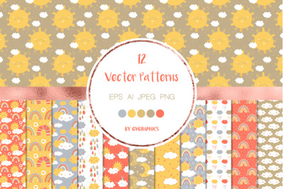 12 Sun, Clouds and Rain Vector Patterns and Seamless Tiles