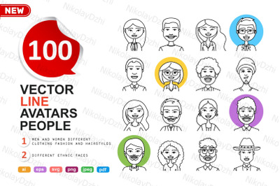 100 People outline avatar icons
