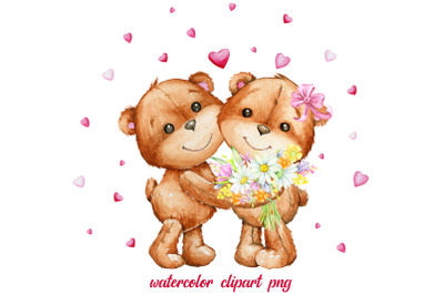 Cute Valentine's Day Teddy Bears with Heart Sublimation File, Love, Va