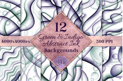 Green and Indigo Abstract Ink Backgrounds - 12 Images
