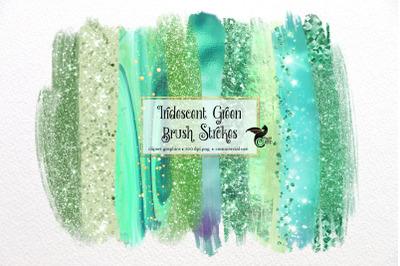 Iridescent Green Brush Strokes Clipart
