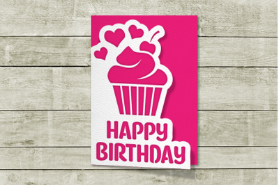 Layered Papercut Birthday Card with Cupcake | SVG | PNG | DXF | EPS