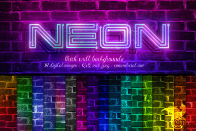 Neon Brick Wall Backgrounds