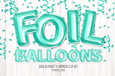 Aqua Foil Balloon Alphabet Clipart