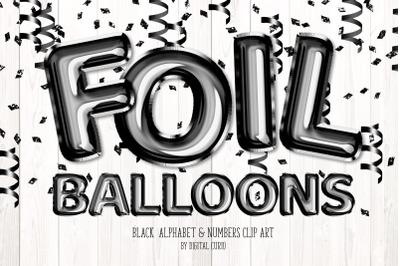 Black Foil Balloon Alphabet Clipart