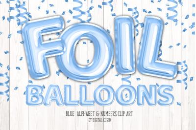 Blue Foil Balloons Alphabet Clipart