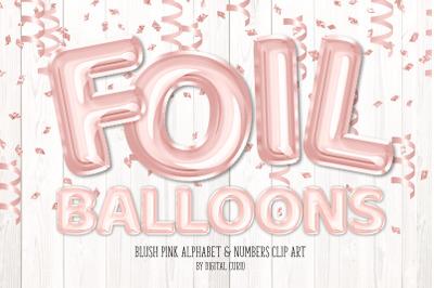 Blush Foil Balloon Alphabet Clipart