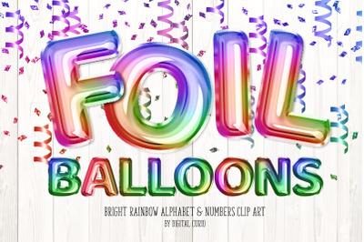 Bright Rainbow Foil Balloons Clipart