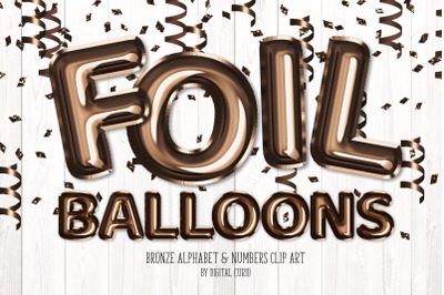 Bronze Foil Balloon Alphabet Clipart