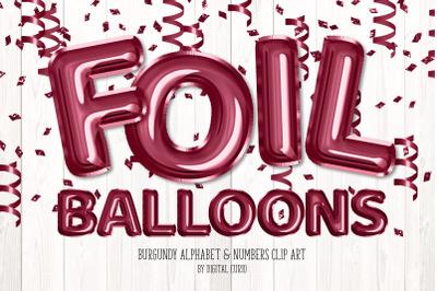 Burgundy Foil Balloon Alphabet Clipart