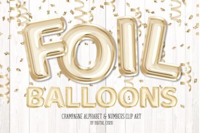Champagne Foil Balloon Alphabet Clipart