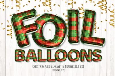 Christmas Plaid Foil Balloons Alphabet Clipart
