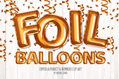 Copper Foil Balloon Alphabet Clipart