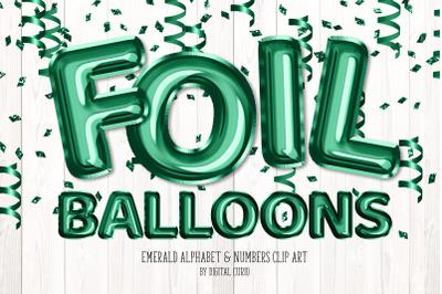 Emerald Foil Balloon Alphabet Clipart