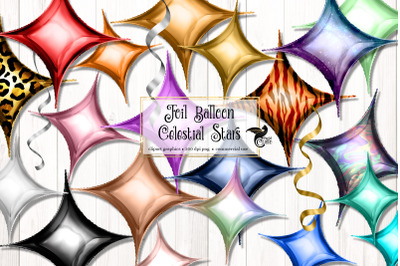 Foil Balloon Celestial Stars Clipart