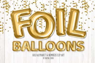 Gold Foil Balloon Alphabet Clipart